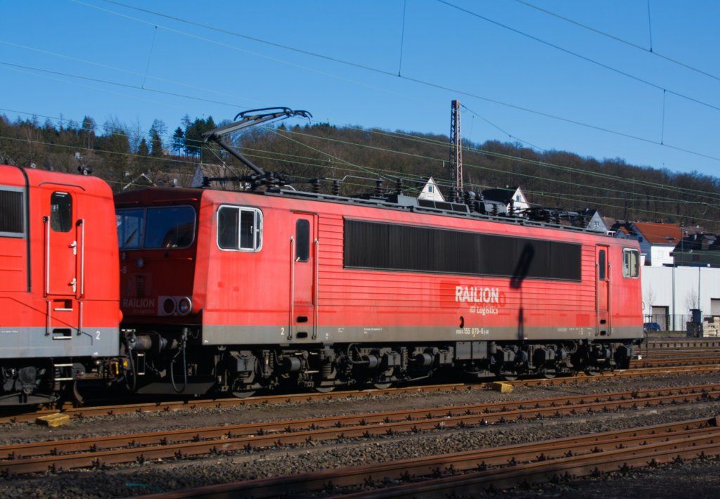 German electric locomotive 155 070-6 from the RAILION Logistics  parked at the 07/03/2011 in Kreuztal (Germany).