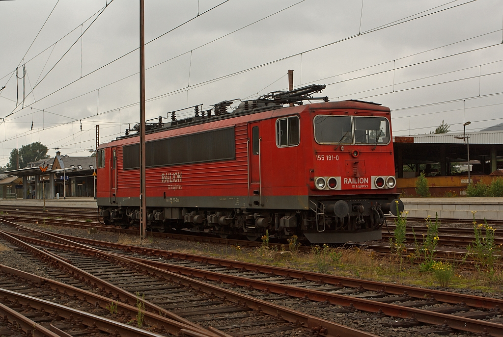 German electric locomotive 155 191-0 from the RAILION Logistics parked at the 23.07.2011 in Kreuztal (Germany).