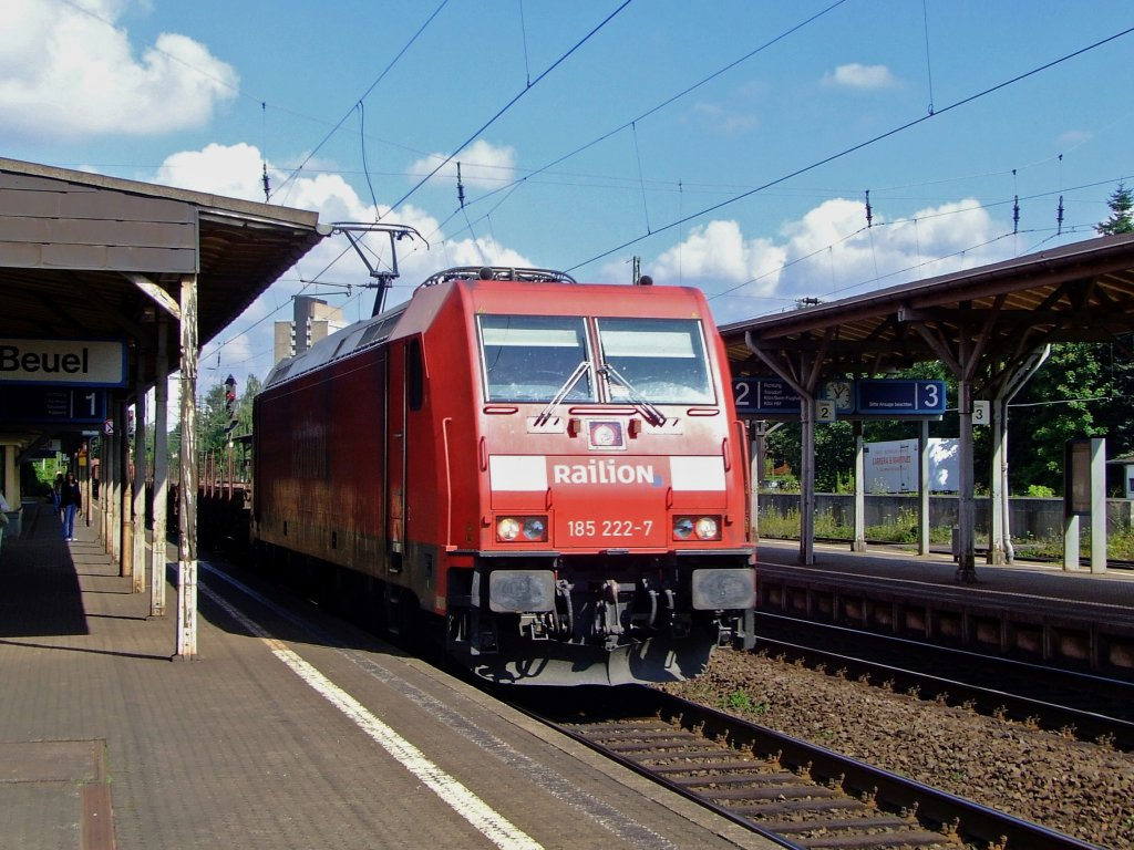 German electric locomotive 185 222-7 with freight train at driving on 06.08.2011 by the station Bonn-Beuel direction south.