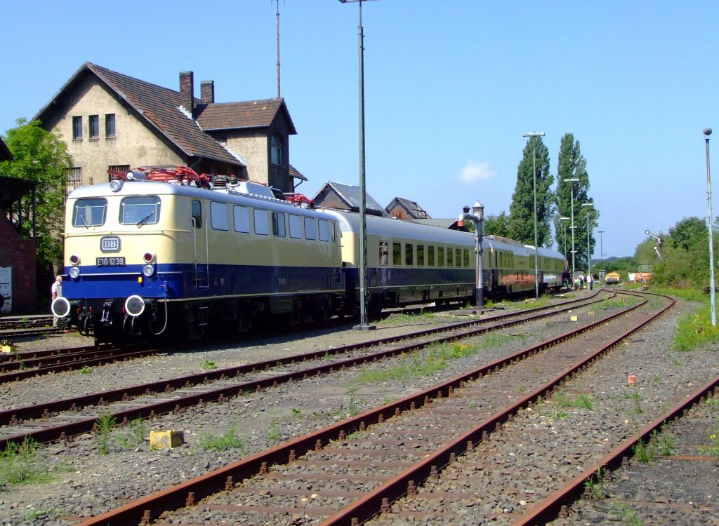 German electric locomotive E10 1239 with the Rheingold Express out of the 60's on 8/14/2010 in the Rheinisches Industrial Railway Museum (RIM) in Cologne