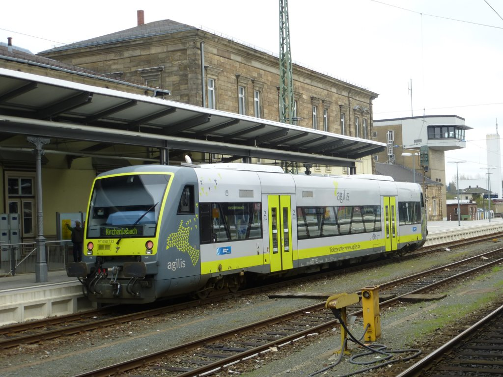 Here is staning a lokal train to Kirchenlaibach (Agilis VT 650.733) on Apil 28th 2013 in Hof main station.
