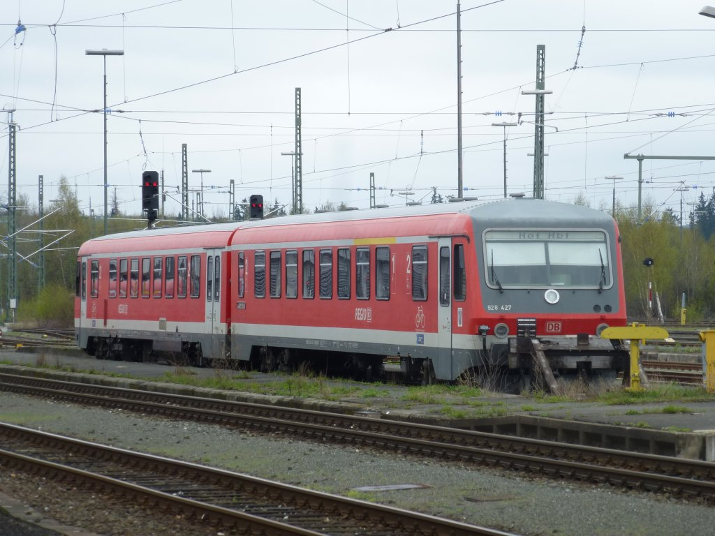 Here you can see 928 427 in Hof main station on April 28th 2013.