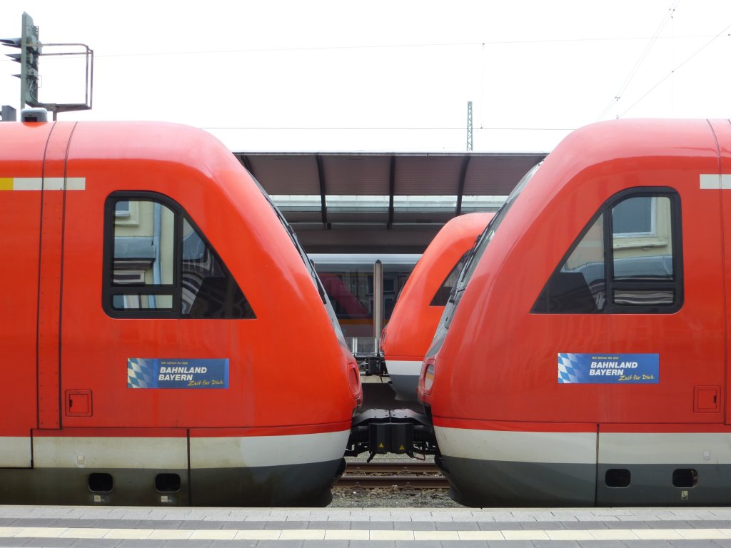 Here you can see the coupling of two lokal trains (BR 612) in Hof main station on April 28th 2013.
