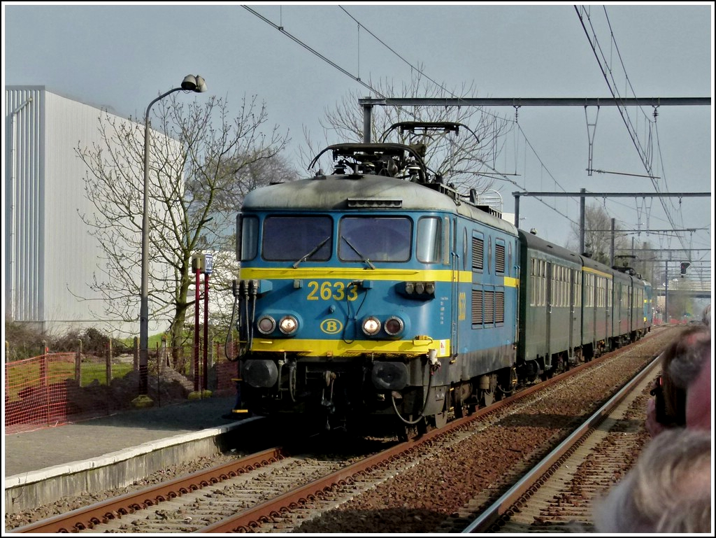 HLE 2633 photographed with the special train  Adieu Série 26  in Zele on March 24th, 2012.