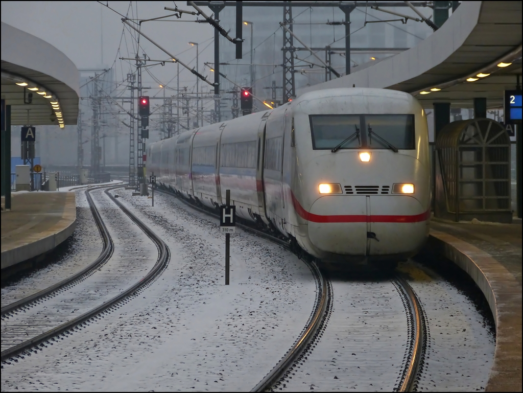 ICE 2 unit is entering into the east station in Berlin on December 23rd, 2012.