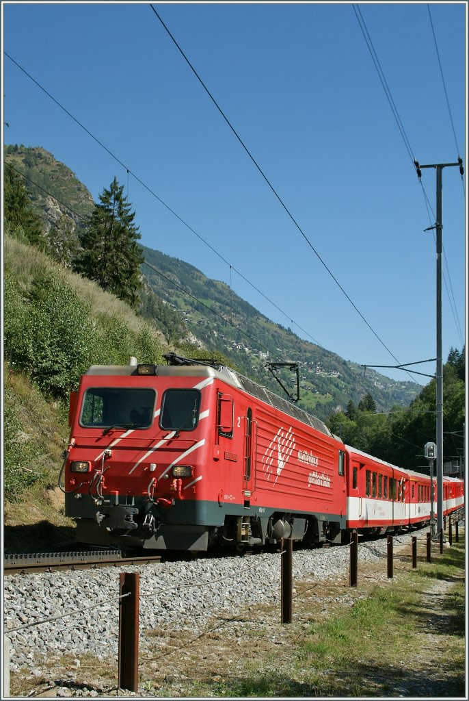 MGB HGe 4/4 on the way to Zermatt by St Niklaus.