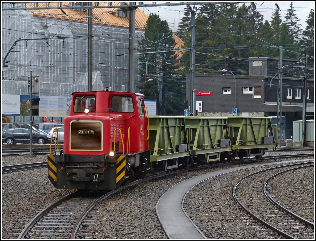MGB Tm 2/2 4971 is hauling a few goods wagons through the station of Andermatt on May 23rd, 2012.