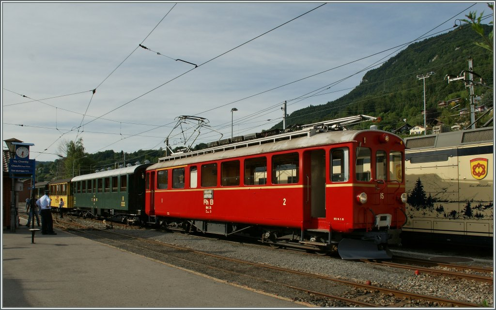 RhB ABe 4/4 n° 35 an an SBB C4 in Blonay. 