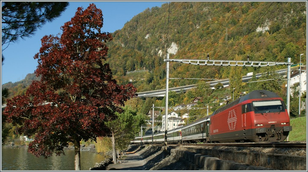 SBB Re 460 015-1 near Villeneuve.