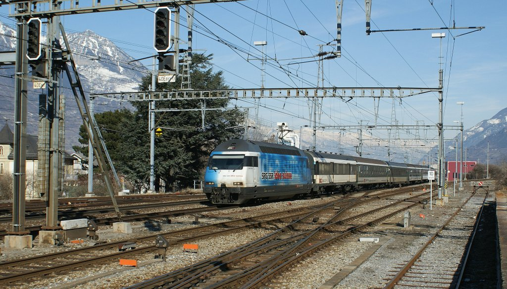 SBB Re 460 020-1 with IR to Geneva Airport in Martigny.