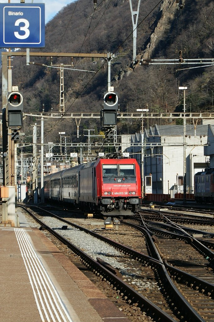 SBB Re 484 014 with a IR to Milano in Bellinzona.