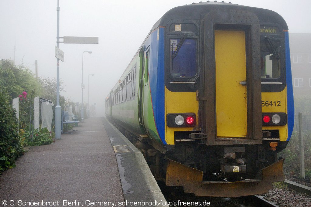 Sheringham,  Greater Anglia  DMU 156412, with the 9,46 departure to Norwich in dense fog.
