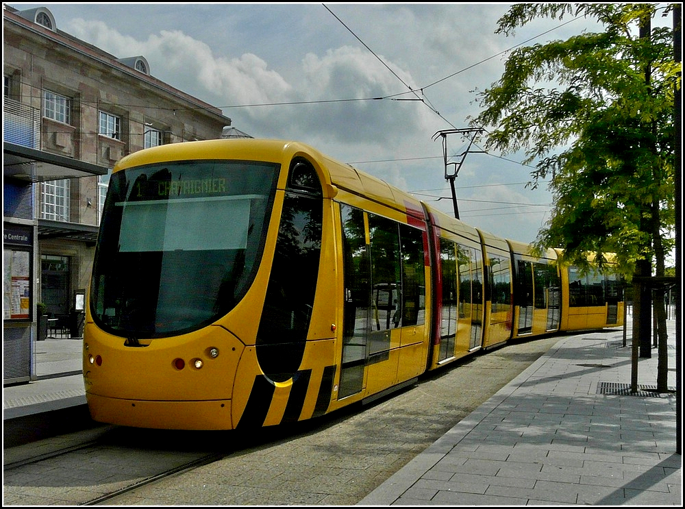 Soléa Alstom Citadis 300 tram pictured at the main station of Mulhouse on June 19th, 2010.