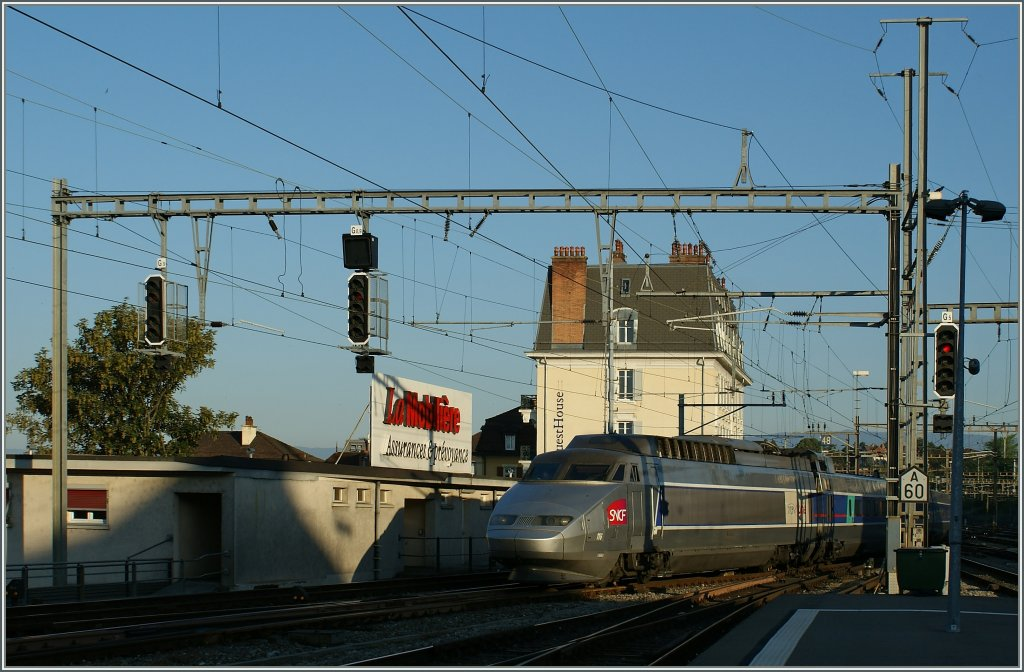 TGV Lyria in the early morning in Lausanne. 