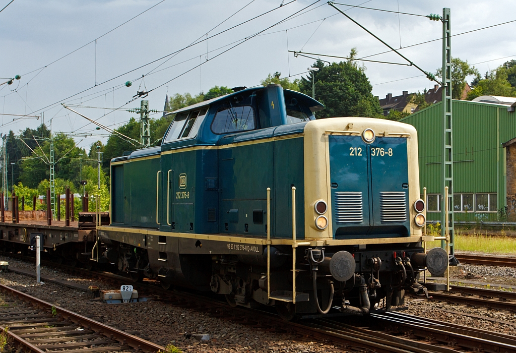 The 212 376-8 ex DB V 100 2376 of the Aggerbahn (Andreas Voll e.K., Wiehl) on 03.08.2012 in Betzdorf/Sieg.