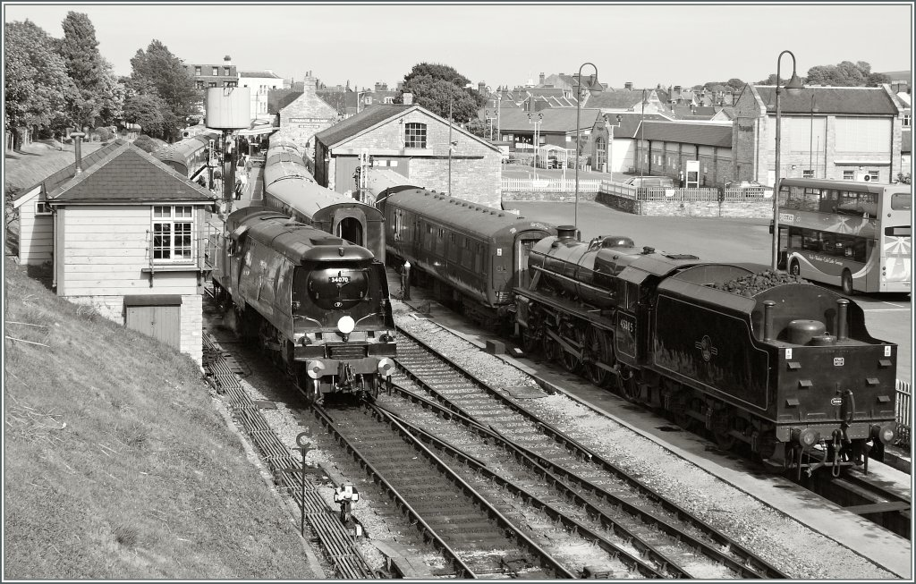 The 34070 and the 45503 on the nice Swanage Railway Station in Swanage.
