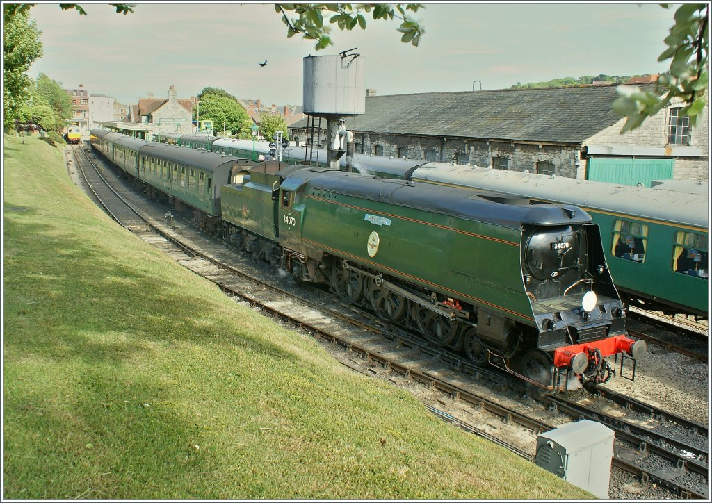The amazing 34070 in Swanage. 