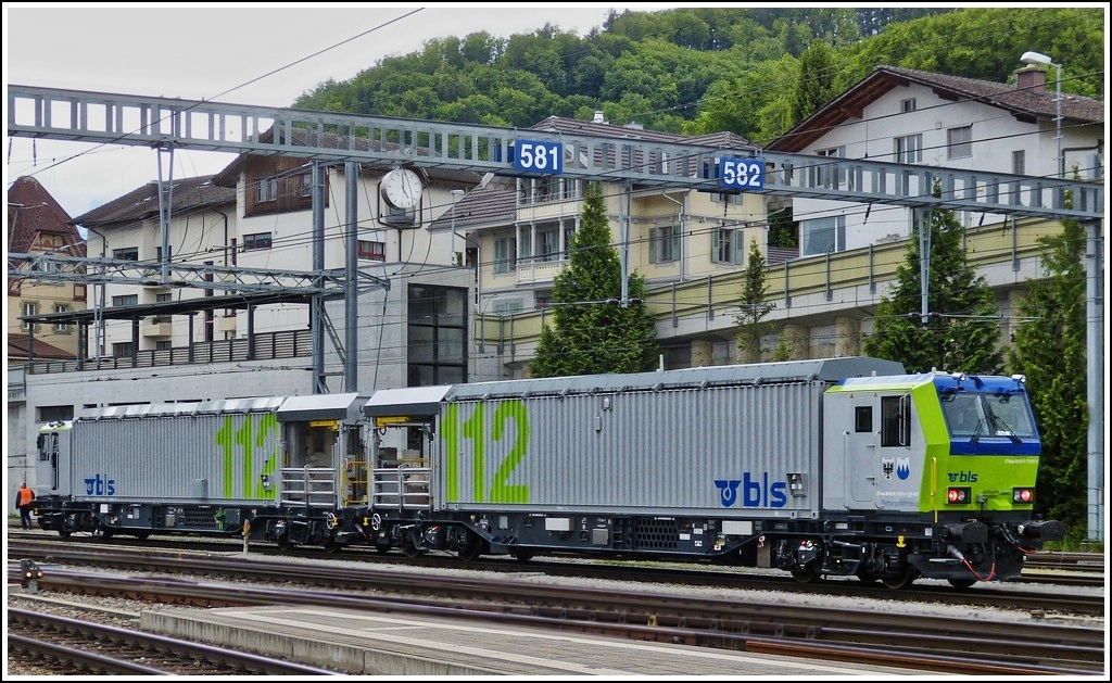 The BLS rescue train photographed in Spiez on May 22nd, 2012.