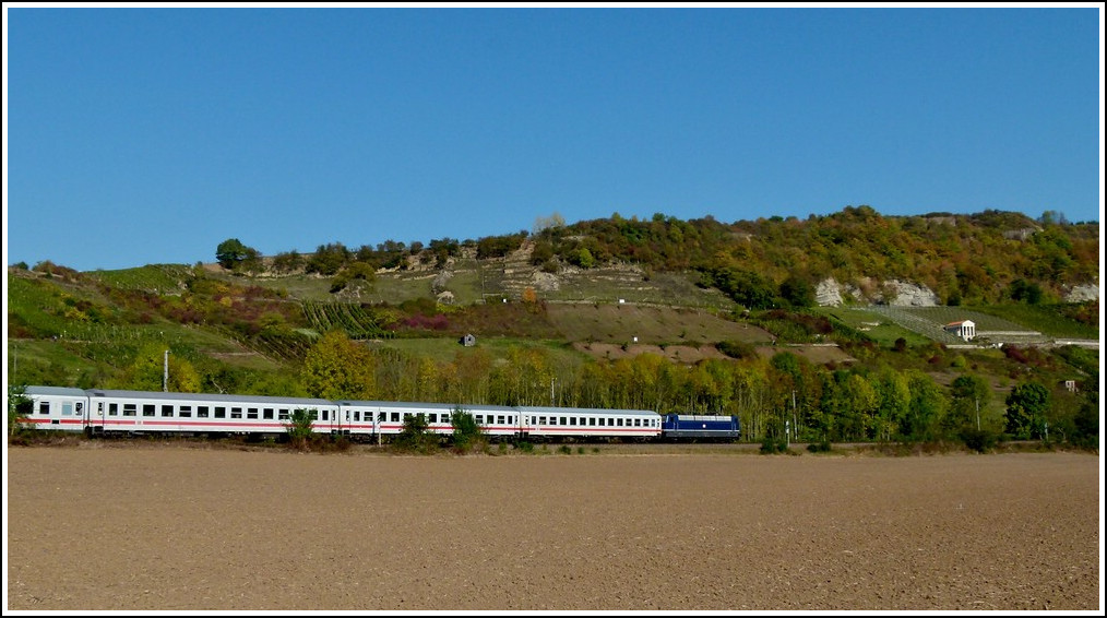 The blue 181 201-5 is heading an IC from Luxembourg City to Norddeich Mole near Igel on October 16th, 2011.