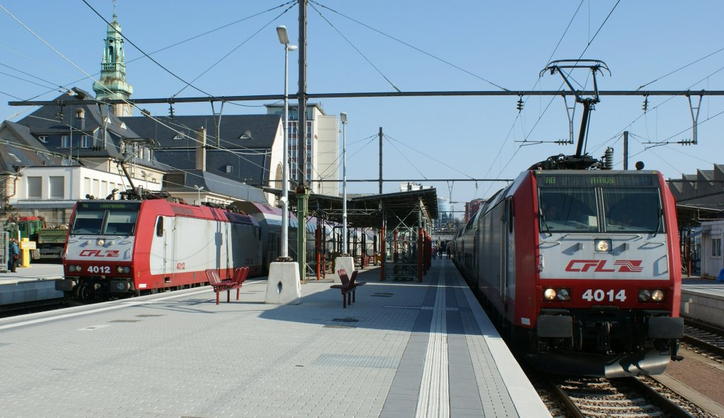 The CFL 4012 and 4014 in Luxembourg (City Station).