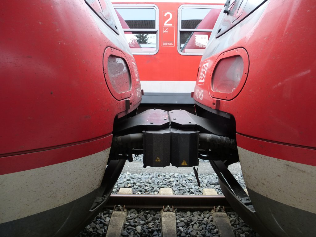 The coupling between two trains of the BR 612, Nuremberg main station on June 23th 2013.