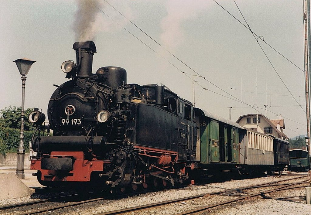 The DB 99 193 by the Blonay-Chamby Heritage Railway is ready to departure to Chamby