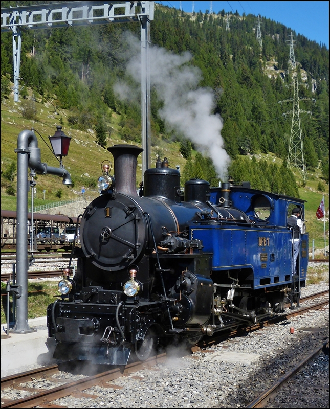 The DFB steam engine HG 3/4 N° 1  Furkahorn  pictured in Oberwald on September 16th, 2012.