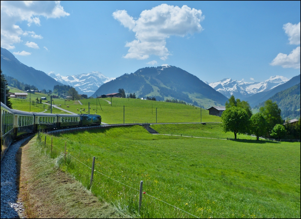 The Goldenpass Classic train is running between Gruben and Gstaad on May 25th, 2012.