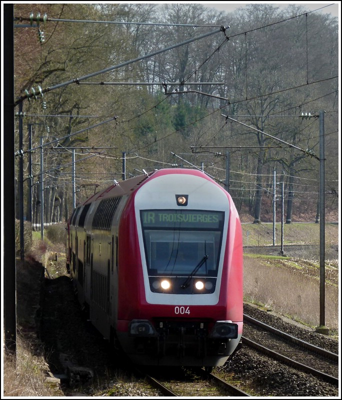 The IR 3714 Luxembourg City - Troisvierges pictured near Colmar-Berg on March 9th, 2012.