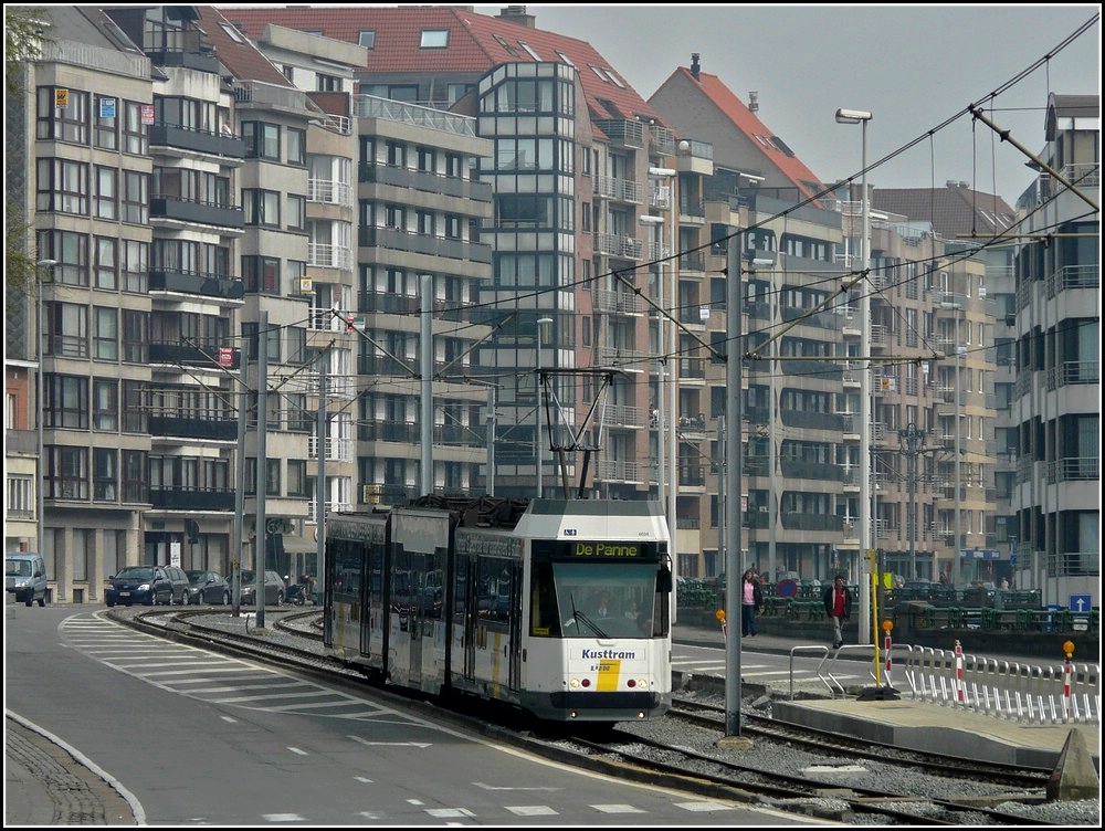 The Kusttram N° 6034 is running through Heist on April 12th, 2010.