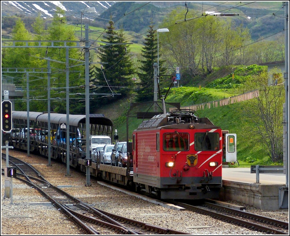 The MGB car train pictured in Realp on May 24th, 2012.