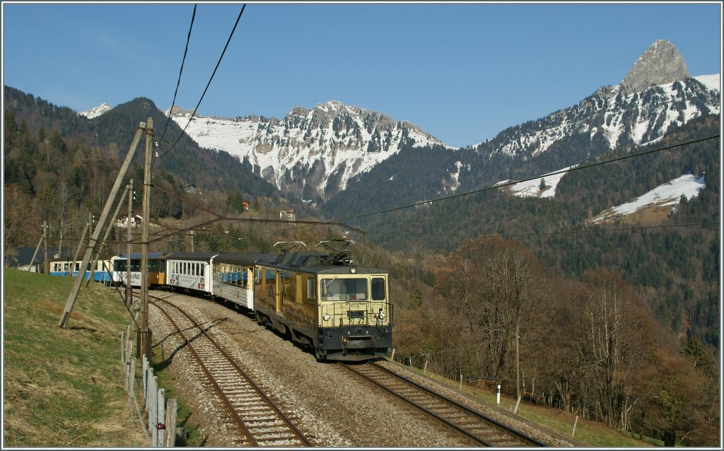 The MOB GDe 4/4  Chocolate train loc  with the local train 2225 from Zweisimmen to Montreux by Sendy Sollard. 