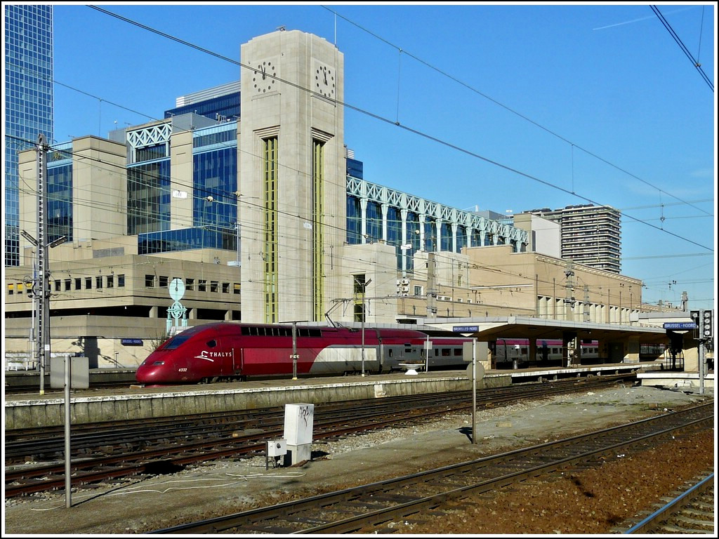 The PBKA Thalys 4332 taken in front of the station Bruxelles Nord on February 17th, 2008.