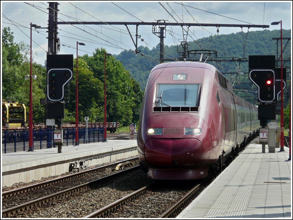 The PBKA Thalys 4344 is running through the station of Pepinster on July 12th, 2008.