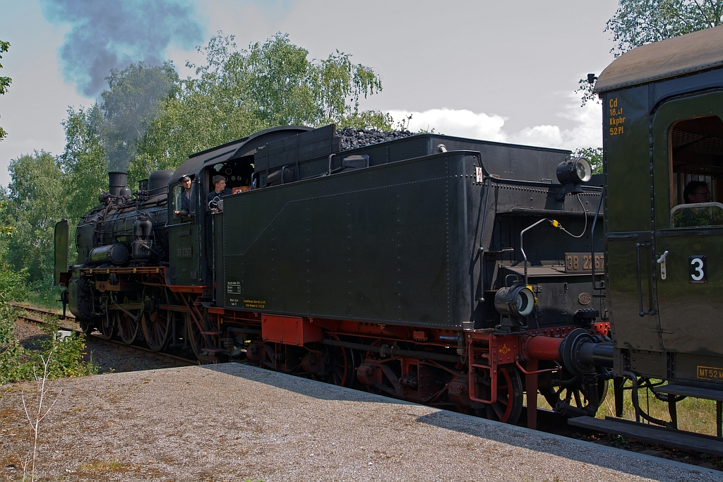 The Prussian steam locomotive 38 2267 (ex. 2553 Erfurt P8) from Railway Museum Bochum-Dahlhausen with the nostalgic train Ruhrtalbahn on 05.06.2011 in Hattingen at the stopping point Henrichshütte. The locomotive was built in 1918 under the serial number 15 695 by the company Henschel.