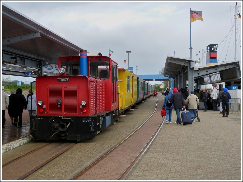 The Schöma engine  Aurich  is waiting for passengers on the isle of Borkum on May 12th, 2012.