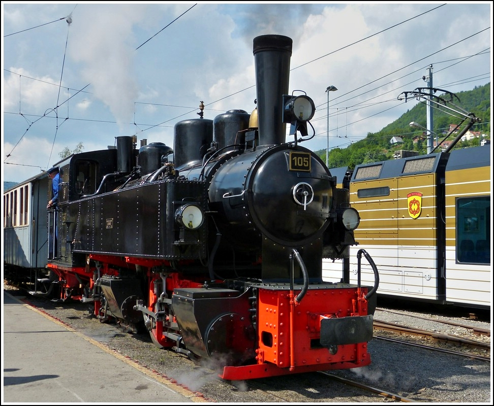 The SEG Mallet engine G 2x2/2 N° 105 of the heritage railway Blonay-Chamby pictured in Blonay on May 27th, 2012.