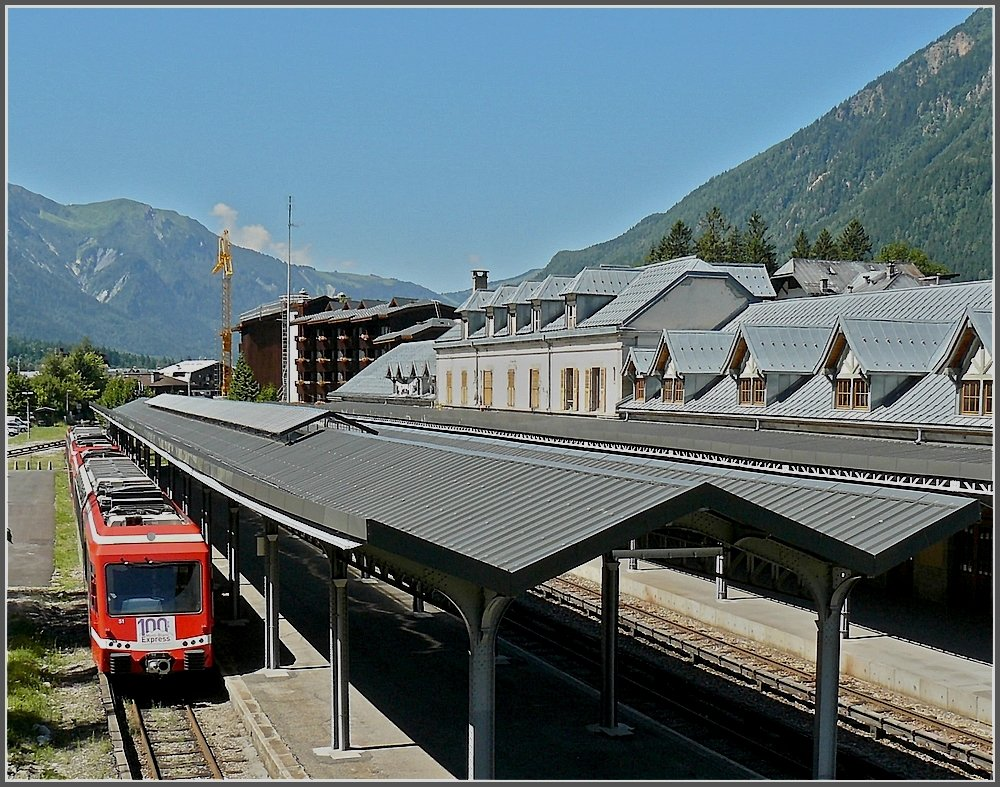 The station of Chamonix with a train (Z 850) of the Mont-Blanc-Express photographed on August 3rd, 2008.