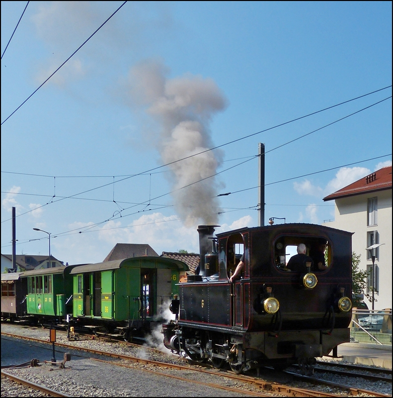 The steam engine BAM N°6 is running through the station of Blonay on May 27th, 2012.