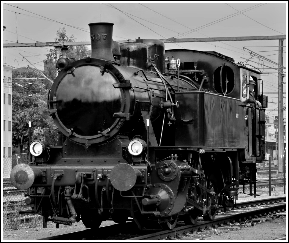 The steam engine KDL 7  Energie 507  is running through the station of Pétange on August 21st, 2011.