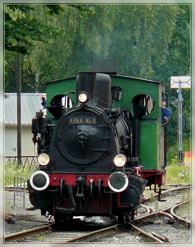 The steam locomotive N° 9  Anna  is running through the station of Fond de Gras on August 17th, 2008.