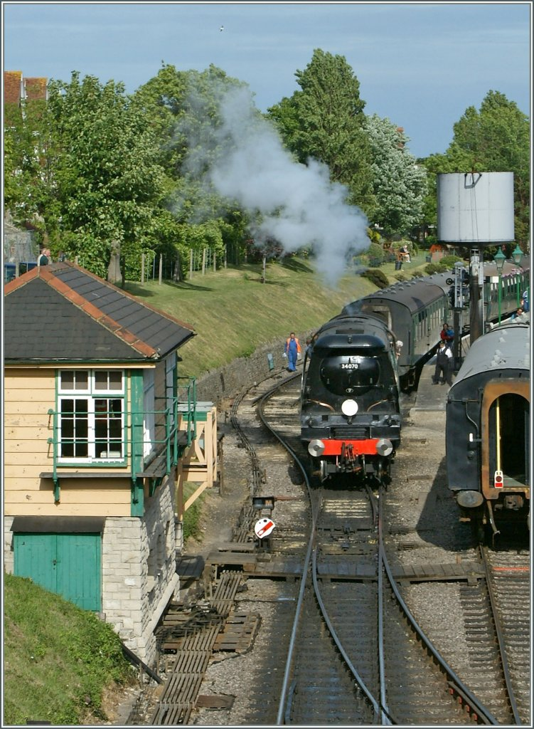 The Swanage Railway 34070 in Swanage. 