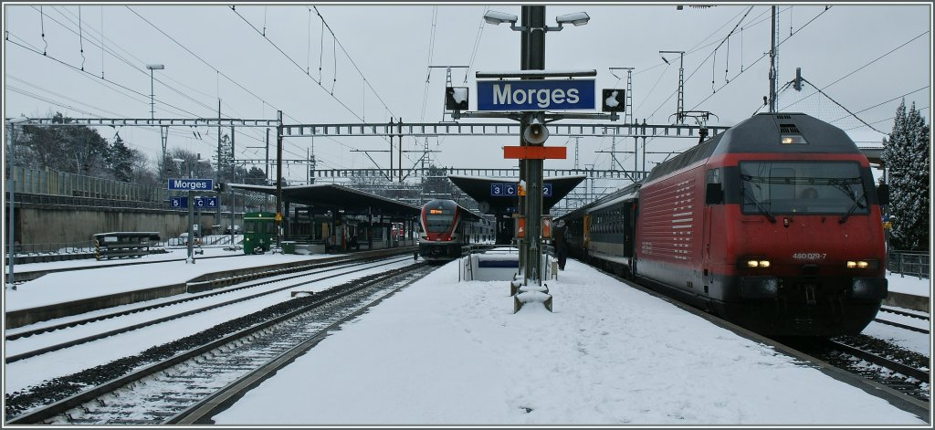 There is not really often snow in Morges; SBB Re 460 79-7 with an IR to Geneva. 