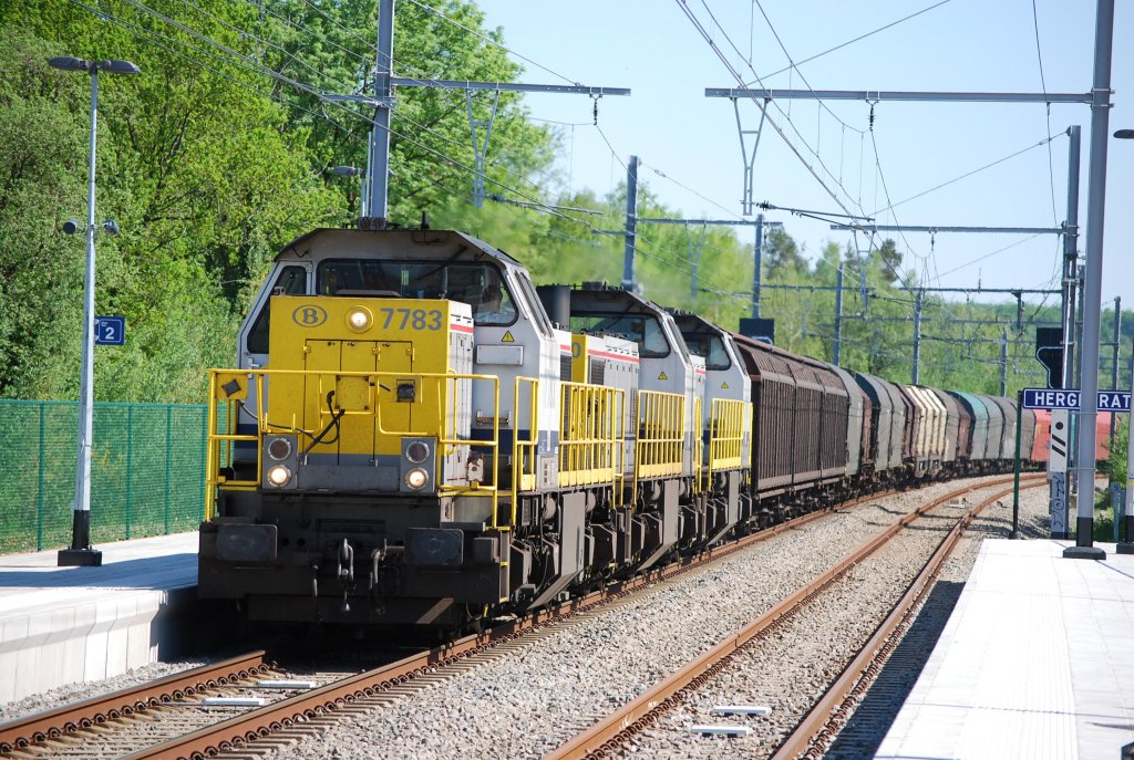 Three diesel engines type HLD 77/78 hauling a freight train towards Germany. May 2008