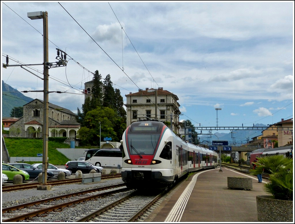 TILO Flirt 524 006 is entering into the station of Locarno on May 23rd, 2012.