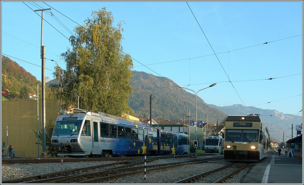 Train des Etoiles  and CEV GTW in Blonay. 