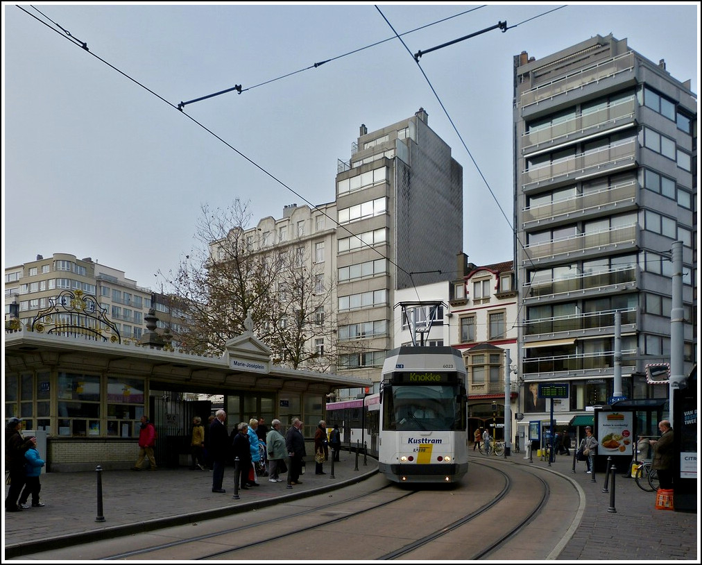 Tram N° 6023 is arriving at the stop Marie-José-plein in Oostende on November 12th, 2011.