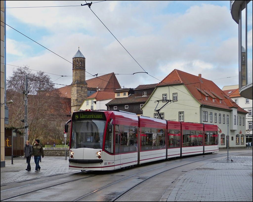 Tram N° 651 is running through Schlösserstraße in Erfurt on December 26th, 2012.