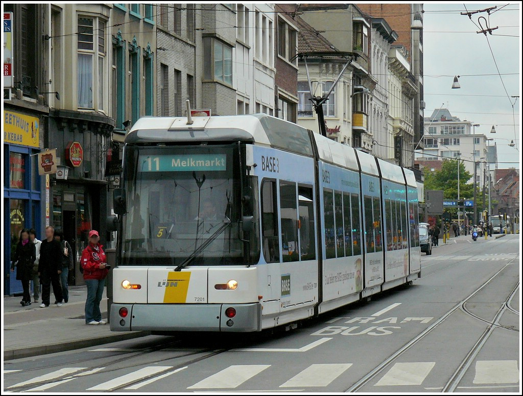 Tram N° 7201 pictured near the station Antwerpen Centraal on September 13th, 2008.