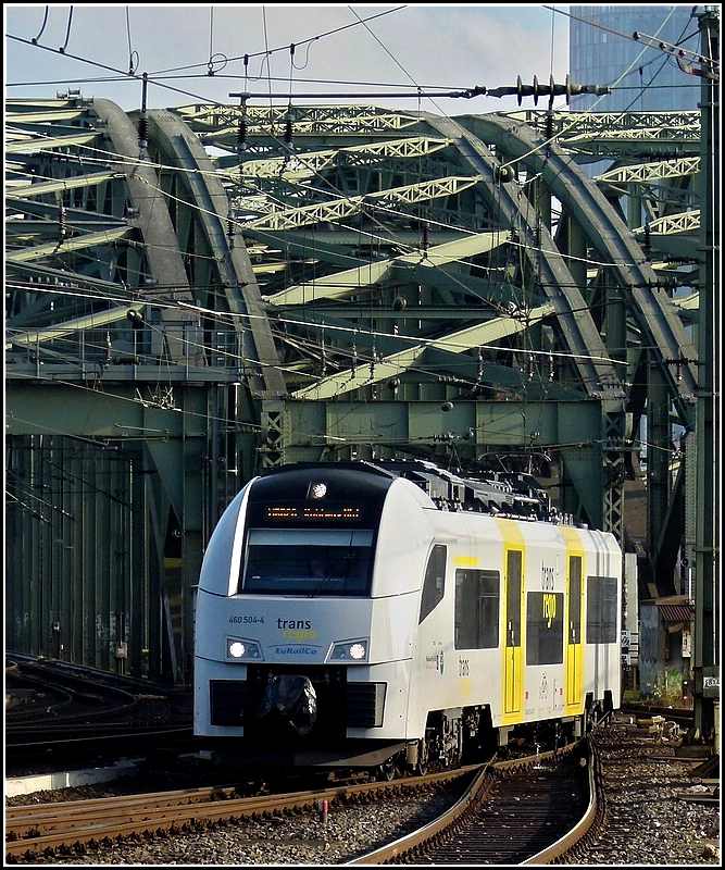 Trans regio 460 504-4 is arriving at the main station of Cologne on November 20th, 2010.